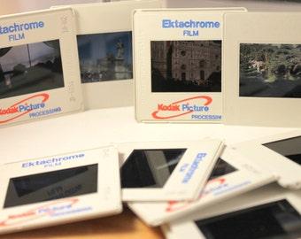 Kodak 35mm color slides 1/2 lb (approx 125 slides) random assortment for crafting: vacation scenery  ~1990-2000s