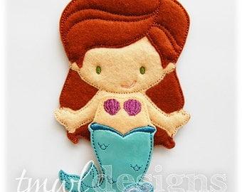 Mermaid Felt Paper Doll Toy Outfit Digital Design File - 5x7