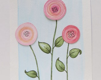 Watercolor painting, original painting, abstract flowers, pink flower art, childrens art, pink blossoms, boho painting