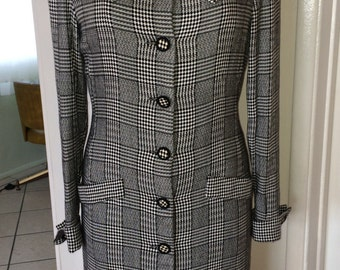 MOD/ SKINHEAD Two Tone Check Button Front Dress SMALL