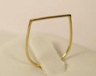14k gold square ring, 14k geometric ring, 14k knuckle ring, 14k midi ring, 14k thumb ring, 14k gold ring, 14k stackable ring,14k bar ring