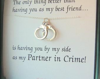 Best friend necklace my Partner in Crime, Best friends necklace, Silver hand cuffed necklace, Friendship necklace
