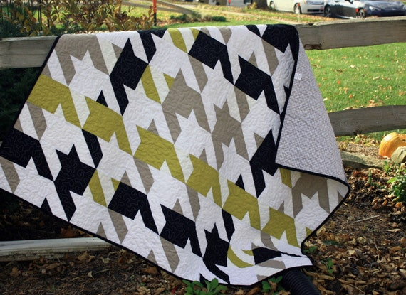 Modern Quilt Masculine Quilt Houndstooth Quilt Lap Quilt In