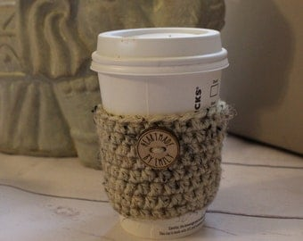 Coffee Cozy ~ Crochet Coffee Cozy ~ Reusable Coffee Sleeve ~ Oatmeal Coffee Cozy