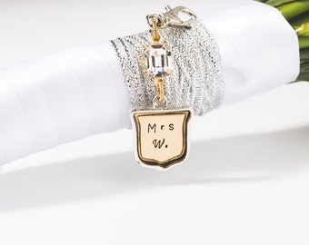 Wedding Bouquet Charm, Hand Stamped, Bridal Charm, Custom Initials, Shield Charm, with Swarovski® Crystal, Australia.