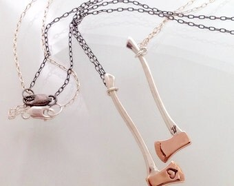 rose gold + silver Love Axe necklace with heart stamp - camille hempel design