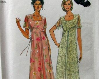 Simplicity 8997, Empire Waist Midi Dress, Square Neckline, Over Skirt, Pullover Dress,  Summer Dress, Misses Sizes 8 to 18