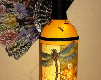 "DRAGONFLY LAMP / NIGHTLIGHT...Beautiful hand made with lights a great decorator item...gift! 14"" tall. Great gift!"