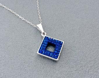 Capri Blue Swarovski Crystal Diamond Shaped Pendant Necklace, Blue Crystal Necklace, Pretty Blue Crystal Necklace