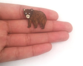 Bear Brooch, Handpainted, Jewellery, Shrink Plastic, Jewelry, Badge, Pin, woodland animal