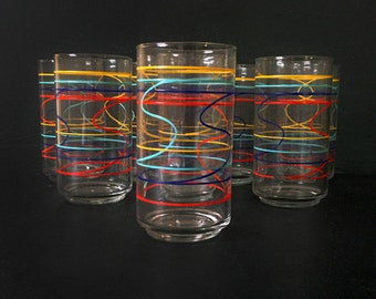 Set of 8 Vintage Anchor Hocking Rainbow Glasses with Squiggle Lines / Silly String Print / 12 oz / Colorful Drink, Barware / Bar Cart Decor