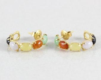 14k Yellow Gold Jade Earrings Hoop Earrings