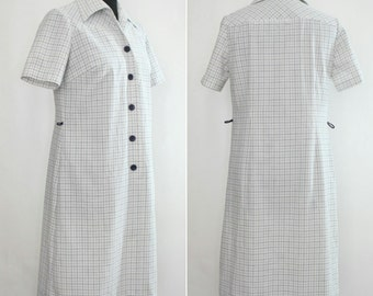 1960s - 1970s Grid Check Shirt Dress