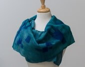 Sale 50% Off Nuno Felted scarf, Raw silk scarf, Nuno felt, Felted scarf, Corriedale wool, Teal,Navy blue, geometric shapes