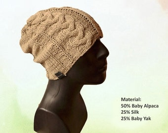Mens Cable Knit Hat / Mens Hat / Baby Alpaca / Beanie Hat / Silk / Mens Beanie / Hat / Cable Knit Hat / Men's Hat / Gift