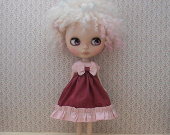 Blythe Doll Silk Dress Empire Line ~ Burgundy Powder Pink Ruffles & Bow ~ Pullip Doll Clothes Outfit