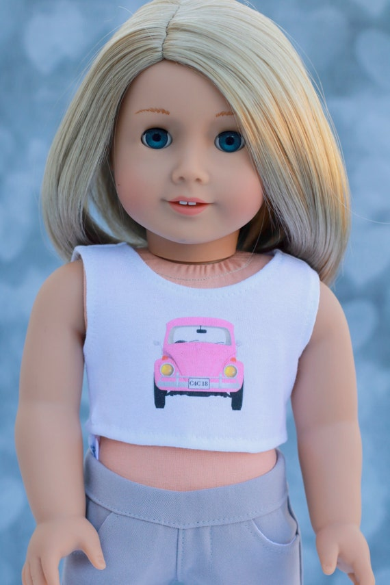 American Made Doll Clothes | Pink Volkswagen Beetle Bug CROP TANK TOP for 18 inch doll such as American Girl Doll