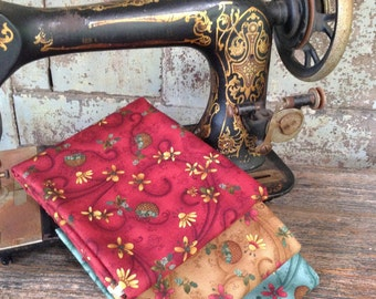 Fabric HALF YARD: Pumpkin Pie -Teal Brown Red- by Henry Glass for Buggy Barn Fabrics