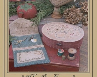 """Pattern: Pincushion Sewing Set , """"My Pin Keeps"""" - Country Stitches - Brenda Gervais"""