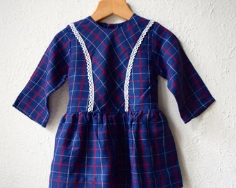 Roberta - Vintage Checked Brushed Cotton Dress - Age 2 to 3