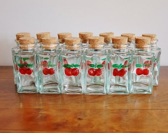 1950s cherries glass spice jar set 13 gay fad painted embossed green glass spice jars