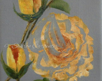 Yellow Roses Original Painting Canvas