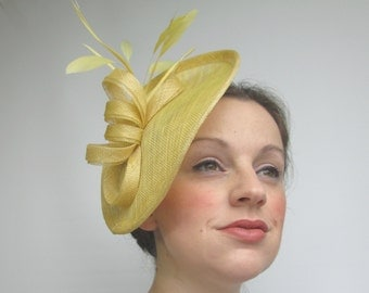 Yellow Fascinator Hat - Yellow Hat, Races Hat, Wedding Hat, Fascinators, Hatinator, Yellow Headpiece, Saucer, Sinamay Hat, Tea Party