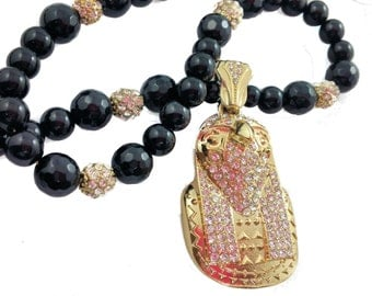 Gold Pave Judgement Of The Pharaoh, Ancient Egyptian, Egyptian Jewelry,Egyptian God Horus, Falcon Egyptian God,Onyx Necklace, Black Necklace