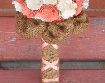 Medium Custom Handmade Paper Wedding Bouquet Bride or Bridesmaids Bouquet ANY COLORS Coral, Ivory, Burlap
