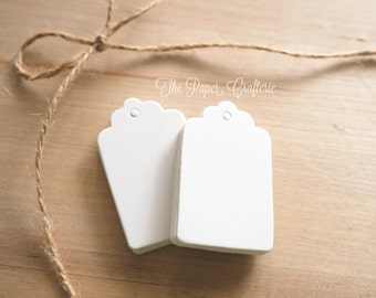 Mini White Gift Tags Rectangle Scalloped Edge - Pack of 25