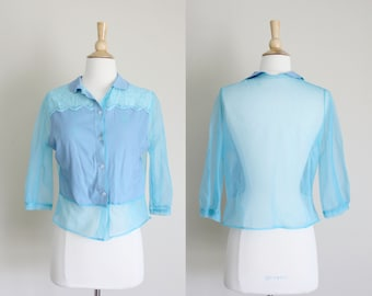 1950s Sheer Nylon Blouse |  Baby Blue Blouse | Semi Sheer Blouse | AS IS | Small
