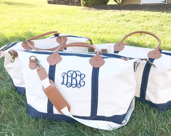 Monogrammed Weekender | Personalized CB Station Canvas and Leather Travel Duffle Tote | Travel, Bridesmaids gifts, Graduation, College