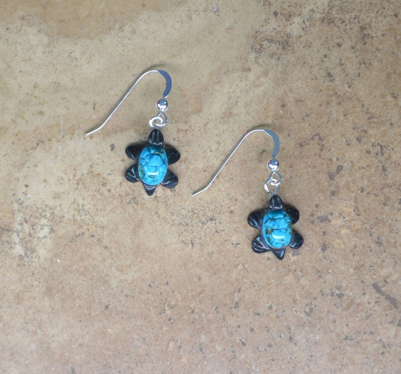Zuni Earrings: Zuni Fetish Style Turquoise Turtle Earrings