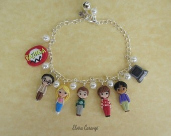 The big bang theory bracelet, polymer clay handmade, Sheldon, bazinga