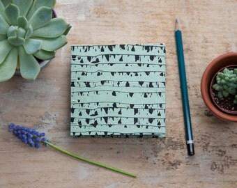 Hand Bound Mini Sketchbook - Coptic Stitch - Journal / Notebook - Mint Green & Black - Small - Pocket Journal / Travel Journal - Tree Trunks
