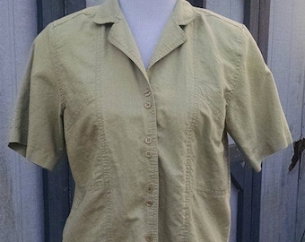 1980s MOD Laura and Jayne Blouse for Women//Military Green//Double Buttons//Size 10 Blouse//Short Sleeves//MOD Retro Hippie Hipster
