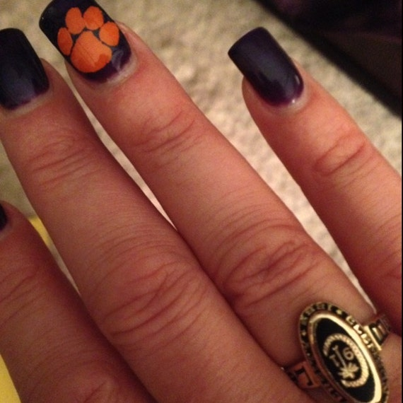 Nail decals Tiger paws Clemson & LSU Tigers Manicure /