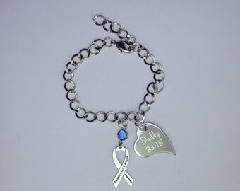 Personalized Testicular Cancer Awareness Ribbon Bracelet - Support, Survivor, Memorial Jewelry - Heart Charm with Your Personalized Message