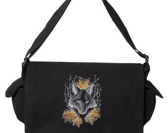 Chalkboard Fox Design on Messenger Bag, Nocturnus - Fox Embroidered Canvas Cotton Messenger Bag