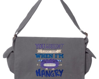 You Wouldn't Like Me Hangry Embroidered Canvas Cotton Messenger Bag