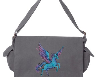 Spectrum - Pegasus Embroidered Canvas Cotton Messenger Bag