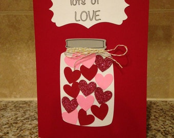 Lots of Love Handmade Greeting Card - Cricut Card - Blank Inside - Homemade Card