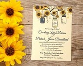 Sunflower Wedding Invitation Card - Mason Jar Wedding Invitation - Rustic Wedding - Southern Wedding Invitation - WE Print | Custom Colors