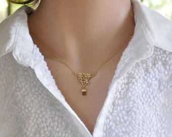 Tourmaline Necklace,  Pink Tourmaline, Tourmaline and Gold, 14k Gold Necklace, Dainty Gold Necklace, Gold and Tourmaline Pendant, 14k Gold