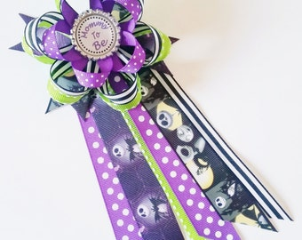 Nightmare Before Christmas Baby Shower Corsage, Jack Skellington Mommy to Be Pin, Jack and Sally Baby Shower Mum, Halloween Grandma to Be