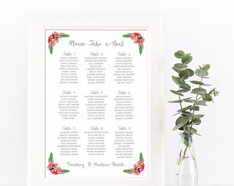Reception Seating Chart, Reception Signs, Wedding Seating Chart Template, Wedding Seating Plan,  Wedding Reception Decor, SKU: S007