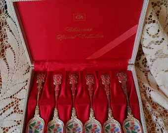 Cloisonne Special Collection Set of Six Demitasse Dessert Spoons