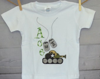 Personalized Military Tank & Dog Tags Applique Shirt or Onesie Boy or Girl