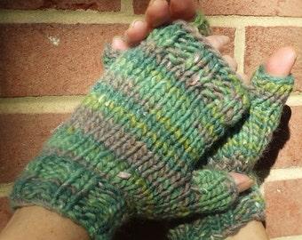 Fingerless Gloves Ladies' Hand Knit Bulky Green Wool, Acrylic, Alpaca & Silk Fingerless Gloves Hand Warmers Bulky Green Fingerless Gloves