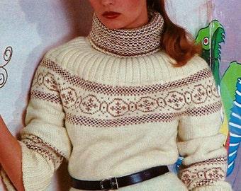 Fair Isle Turtleneck Sweater Vintage Knitting Pattern Download